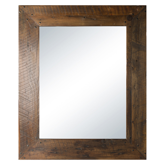 Columbia Frames Rustic Mirror - 33.5-in x 45-in - Natural Wood