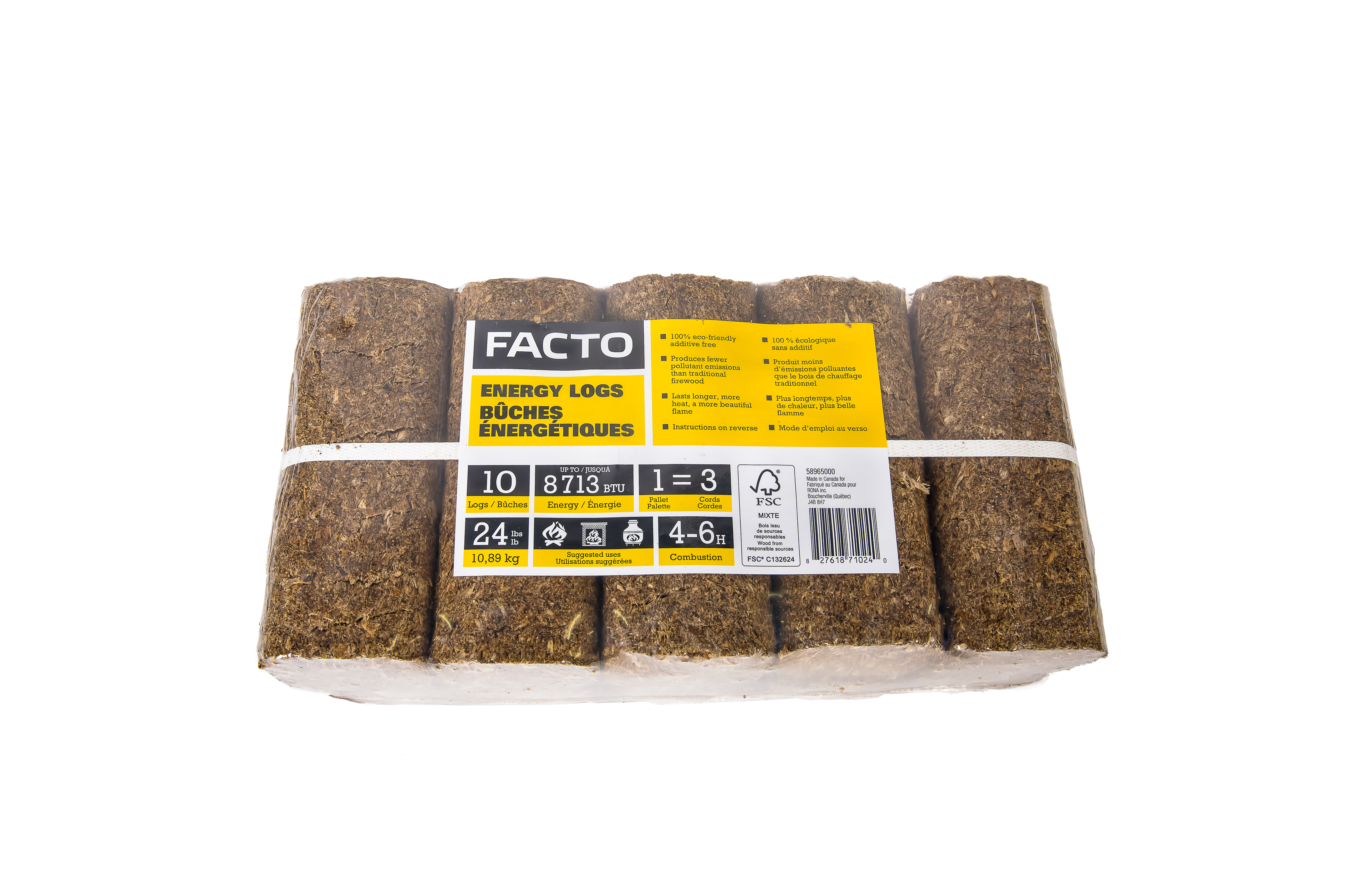 FACTO Ecological Logs - 2.4 lbs - Densified Wood - 10-Pack