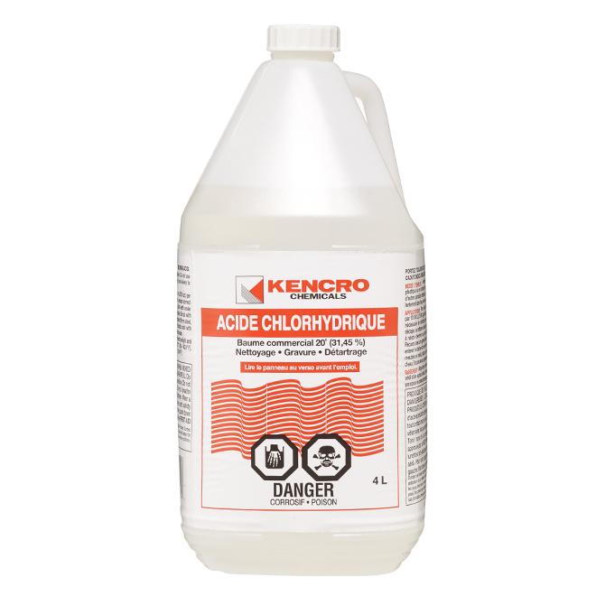 Acide Chlorhydrique Nettoyage kencro acide chlorhydrique, 4 l 307880 | rona