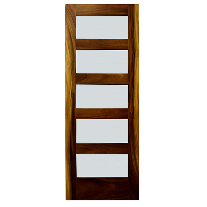5-Panel Acacia French Door - 32-in x 80-in x 1 3/8-in - Glass / Deep Acacia