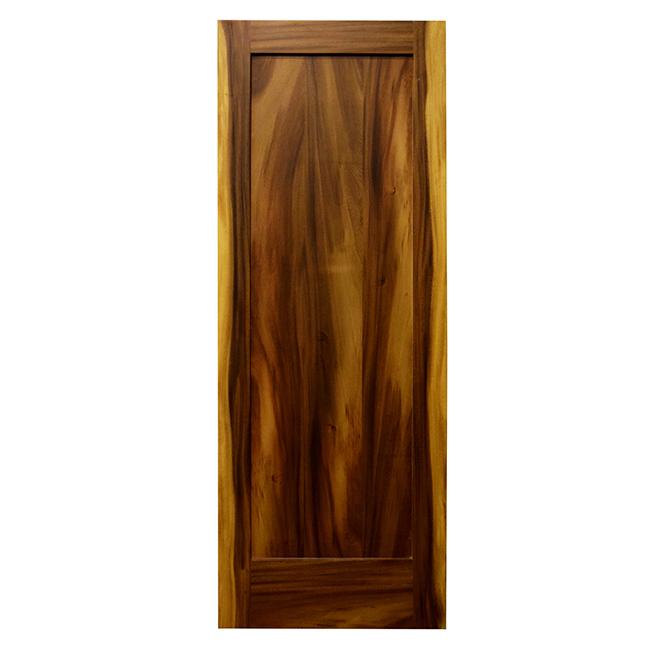 Porte à 1 panneau, 30 po x 80 po x 1 3/8 po, Acacia naturel