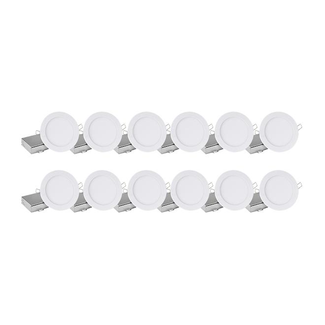 Ensemble de lumières encastrées à intensité variable Leadvision, DEL, blanches, paquet de 12
