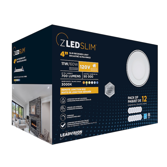 Leadvision Recessed Dimmable Light Kit - LED - White - Set of 12