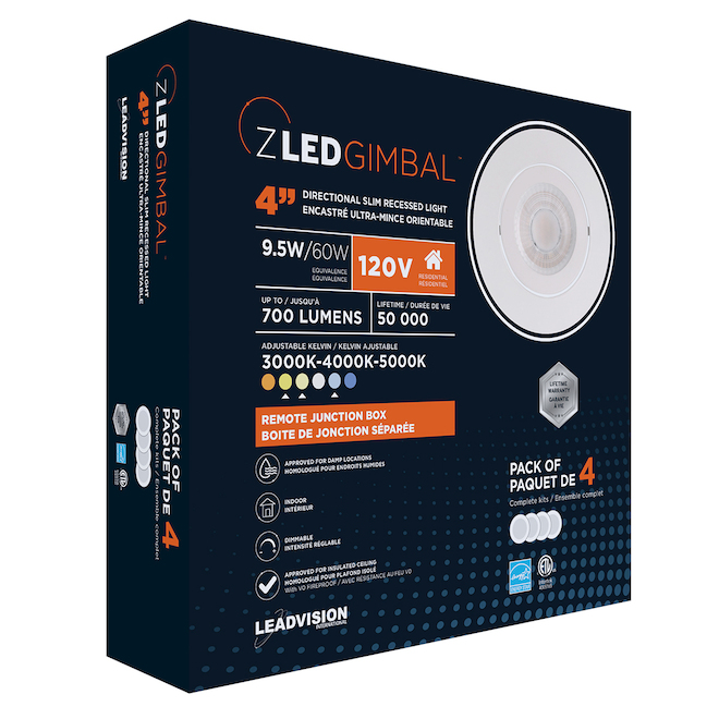 Leadvision SLED Recessed Lights Kit - Dimmable - 4-in - White - 4-Pack