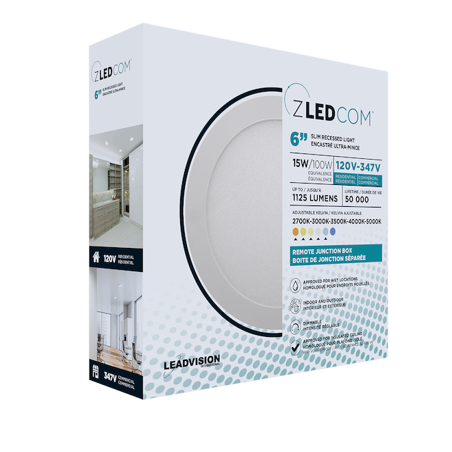 Leadvision Recessed LED Light Fixture with Remote Junction Box - Slim Pro - Dimmable - 6-in - White