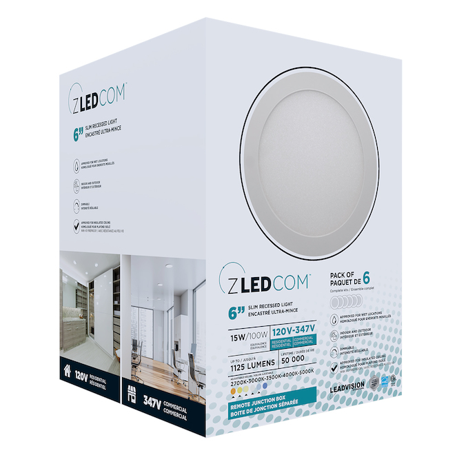 Leadvision Recessed LED Light Fixture with Remote Junction Box - Slim Pro - Dimmable - 6-in - White - 6/Pack