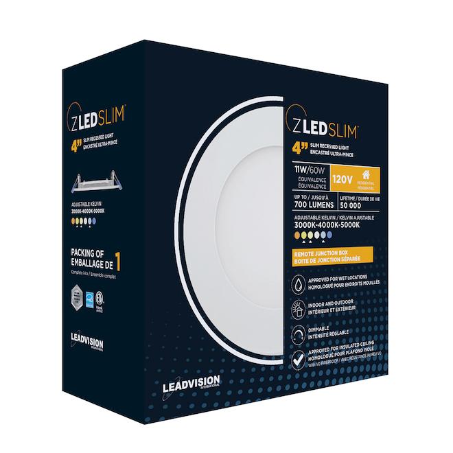 Luminaire DEL encastré Leadvision avec boîte de jonction séparée, intensité réglable, 4 po, blanc