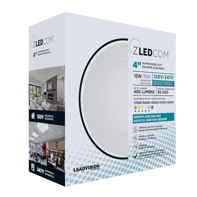Luminaire DEL encastré ultra-mince Leadvision avec boîte de jonction séparée, intensité réglable, 4 po, blanc