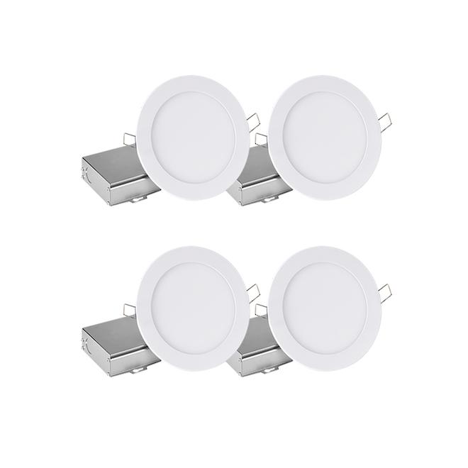 Ensemble de 4 luminaires encastrés DEL Leadvision 11 W  à intensité variable blanc chaud avec boîte de jonction séparée