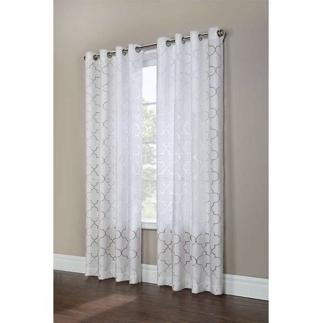 """Panneau de rideau Sultan à anneaux, 50"""" x 84"""", blanc et gris"""