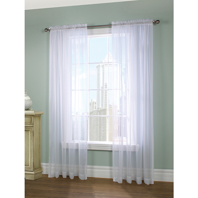 Legacy Sheer Rod-Pocket Curtain Panel - 56-in x 84-in - White