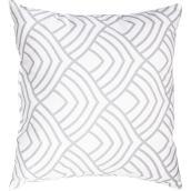 """Coussin décoratif, polyester, 18"""" x 18"""", blanc/gris"""