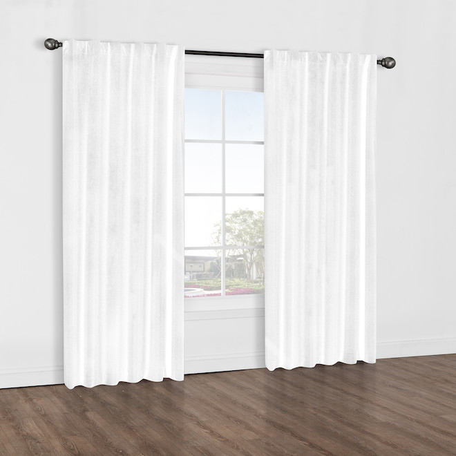 Commonwealth Baxter Back Tab Room Darkening Curtain 52-in x 84-in - White