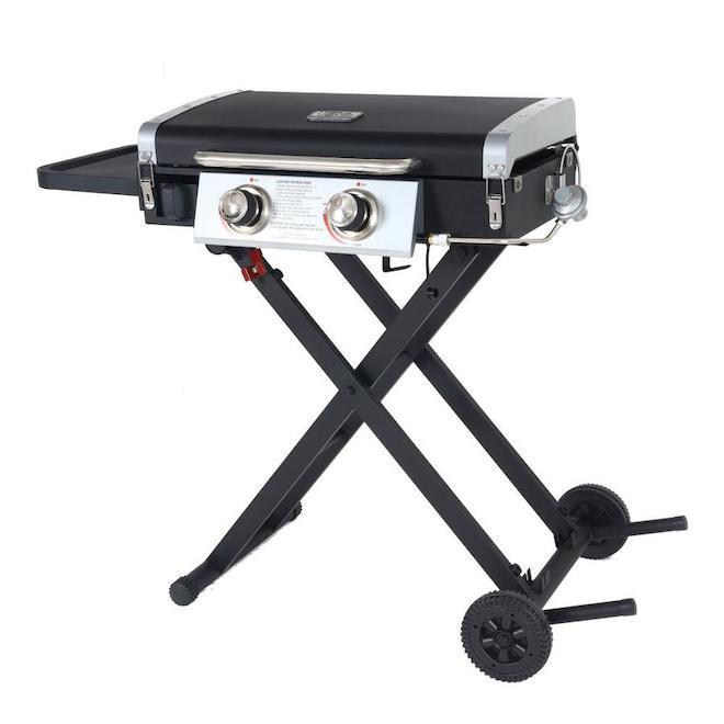 Barbecue Blue Rhino gaz propane portatif, 20 000 BTU, 318 po², 2 brûleurs, noir et argent