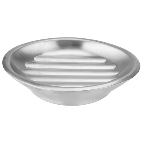 InterDesign Forma Bathroom Soap Dish - 4 3/32-in L x 5 19/64-in W x 1 3/32-in H - Brushed Stainless Steel