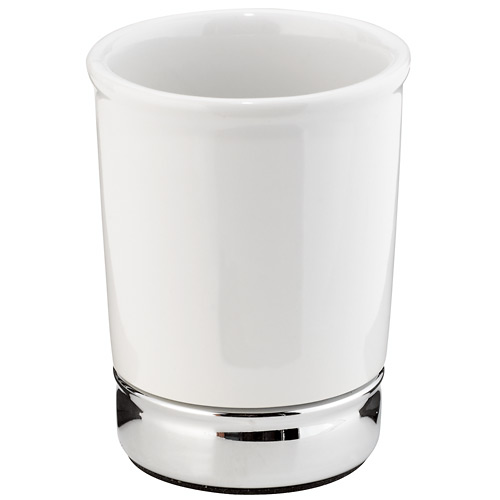 Interdesign York Bathroom Tumbler - Ceramic - White/Chrome 70401