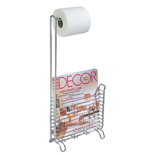 InterDesign Pedestal Toilet Paper Holder - Metal - Chrome - 11.2-in H