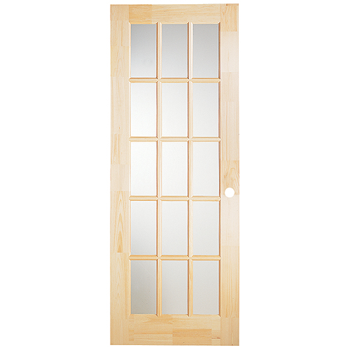 """Pre-Machined French Door - 15 Clear Lites - 1 3/8 X 32 X 80"""""""