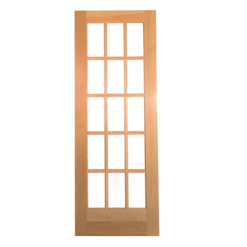 "Pre-Machined French Door - 15 Glue Chip Lites - 1 3/8 X 30 X 80"""