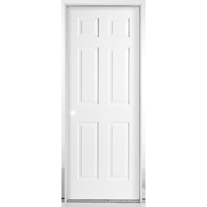 Pre-Hung 6-Panels Door - Right - Primed Hardboard - 30 in x 80 in x 1 3/8 in