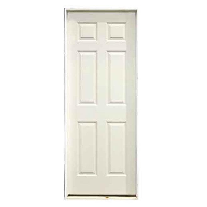 Pre-Hung 6-Panels Door - Left - Primed Hardboard - 30 in x 80 in x 1 3/8 in