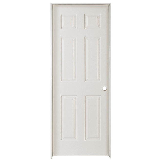 Metrie Prehung Interior Door - 30-in W x 80-in H - Traditional 6-Panel Hollow Core - Left-Hand Swing