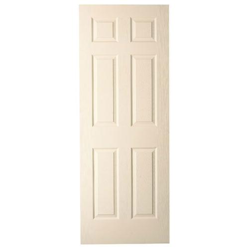 Metrie Prehung Interior Door - 30-in W x 80-in H - Traditional 6-Panel Hollow Core - Primed Hardboard