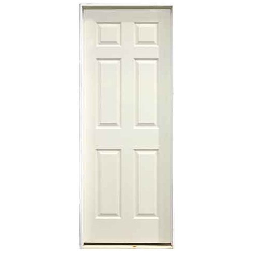 Pre-Hung 6-Panels Door - Left - Primed Hardboard - 32-in x 80-in x 1 3/8-in