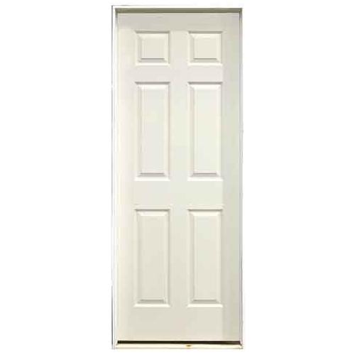 Metrie Prehung Interior Door - 32-in W x 80-in H - Traditional 6-Panel Hollow Core - Primed Hardboard