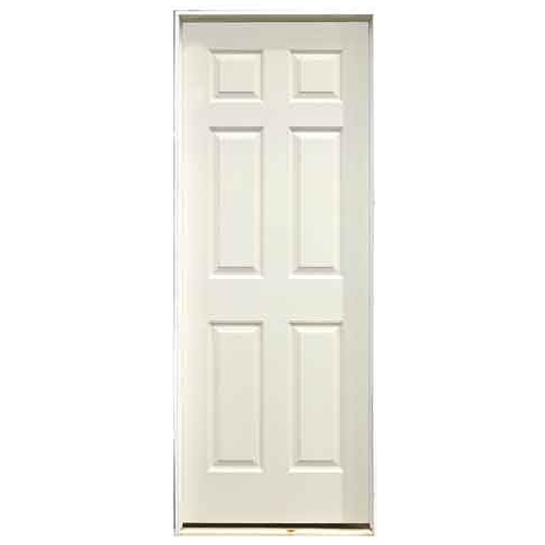 Pre-Hung 6-Panels Door - Left - Primed Hardboard - 30 in x 78 in x 1 3/8 in