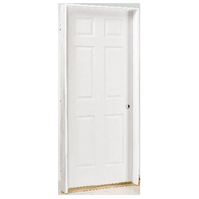 Porte à 6 panneaux pré-montée, gauche, montant double, fibre durcie apprêtée, 30 po x 80 po x 1 3/8 po