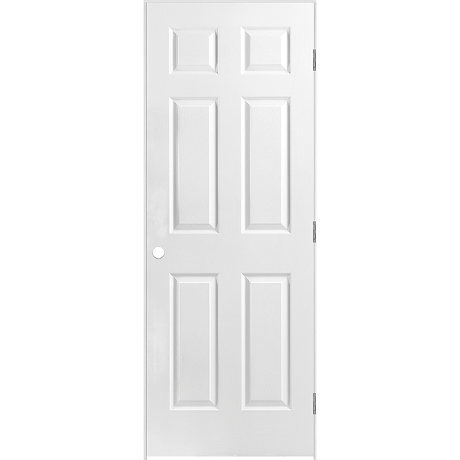 Pre-Hung 6-Panels Door - Right - Double Rabbeted Jamb - Primed Hardboard - 30 in x 80 in x 1 3/8 in