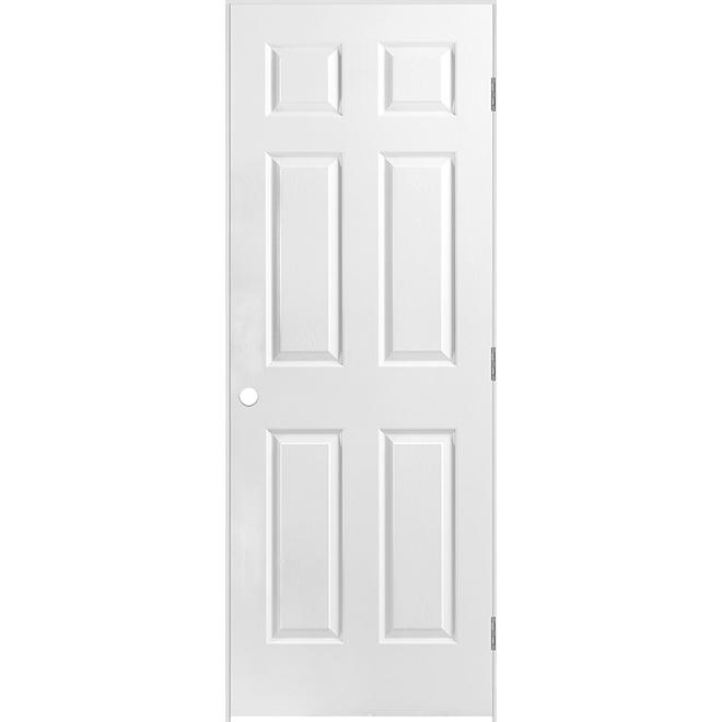 Porte Metrie à 6 panneaux prémontée, fibre durcie apprêtée, 30 po x 80 po x 1 3/8 po, ouverture à droite