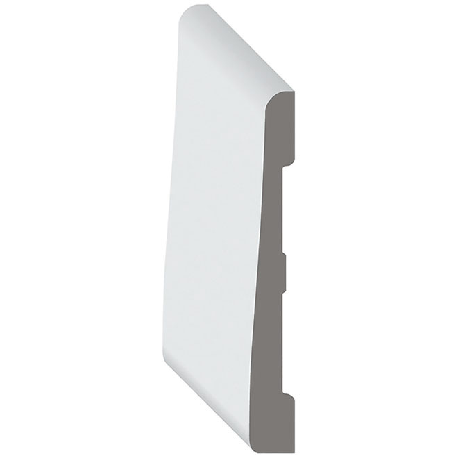 """Bevelled PVC Baseboard - 5/16"""" x 31/8"""" x 96"""" - White"""