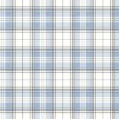 Blue and White Plaid Prepasted Wallpaper