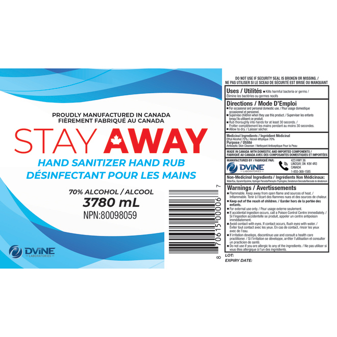 Désinfectant pour les mains Stay Away, 1 gallon
