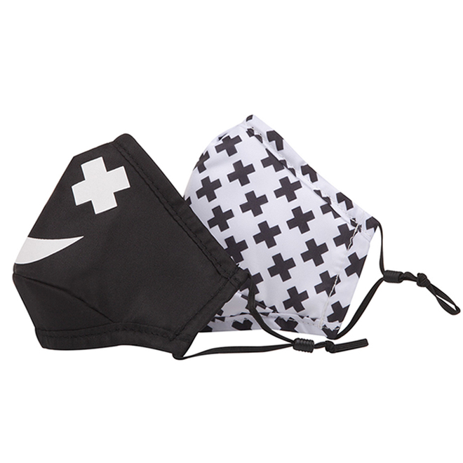 Swiss Mobility - Fabric Masks for Kids - Cotton/Polyester - Black/White - Pack of 2