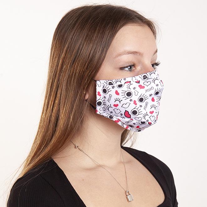 Masques en tissu pour enfants Swiss Mobility, coton/polyester, blanc/rose, paquet de 2