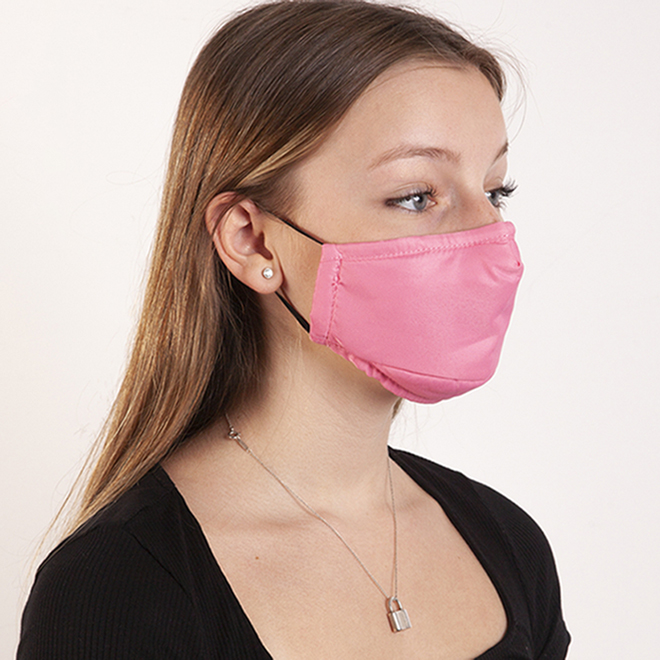 Masques en coton Swiss Mobility pour enfants, noir/rose, 2/pqt