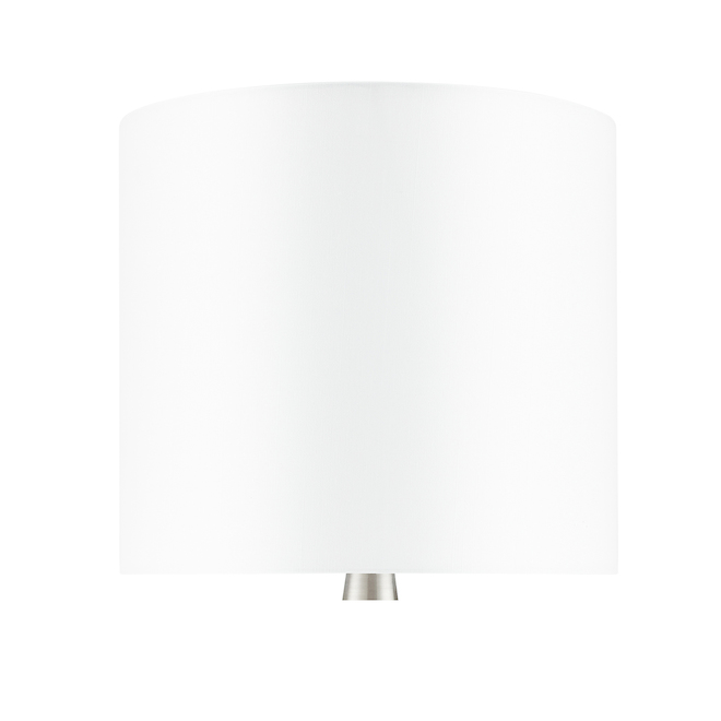 Allen + Roth Table Lamps - 18.5-in x 8.75-in - Metal/Fabric - Brushed Nickel/White - Set of 2