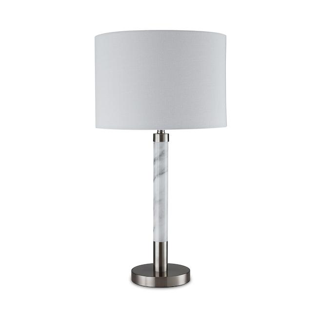 Lampe de table allen + roth, style marbre, 3 intensités, 25 po, métal/tissu, nickel brossé/blanc