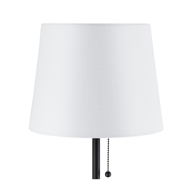 Allen + Roth Table Lamps - 20-in - Metal/Fabric - Black/White - Set of 2