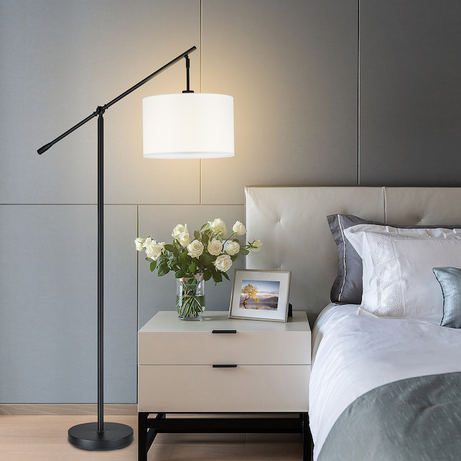 Allen + Roth Over the Sofa Floor Lamp with Adjustable Arm - 60-in - Metal and Linen - Black