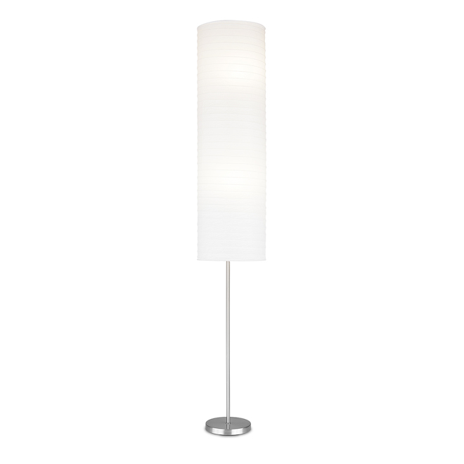 Project Source Floor Lamp with Rice Paper Shade - 69.75-in - Brushed Nickel and White
