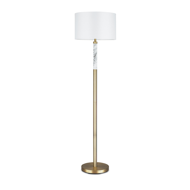 Project Source Floor Lamp with Marble Accent - 62-in - Metal - Antique Brass