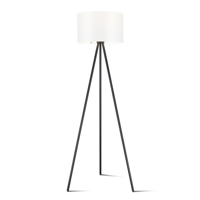 Lampe sur trépied allen + roth style rétro, 61,5 po, métal, noir et blanc