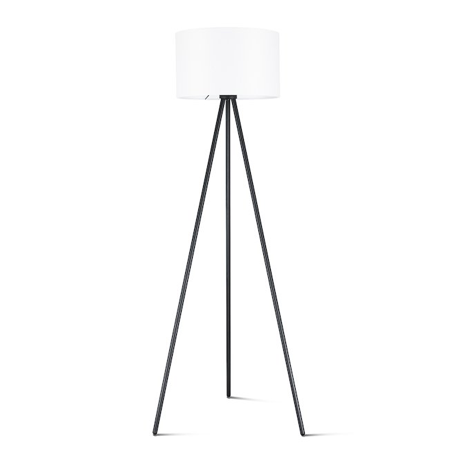Allen + Roth Mid-Century Tripod Floor Lamp - 61.5-in - Metal - Black and White