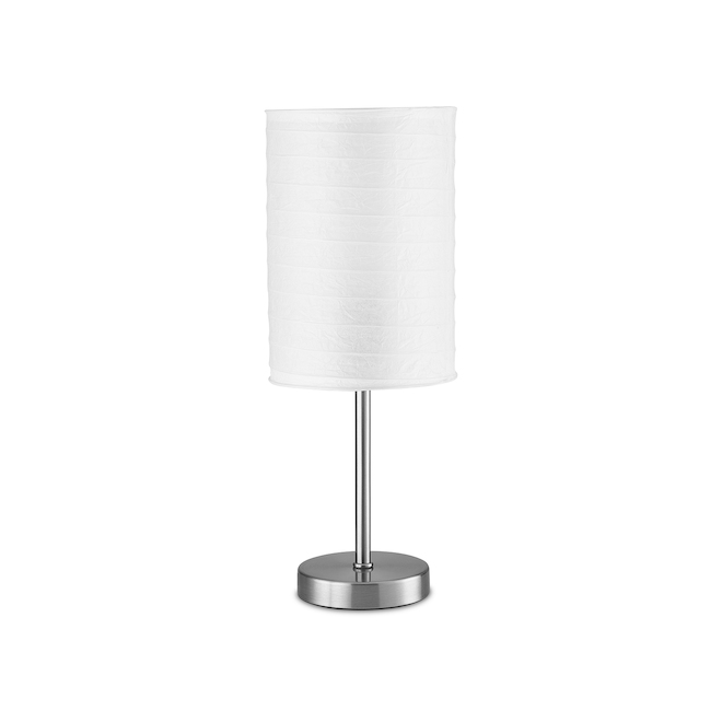 Project Source Table Lamp - 18-in - Metal/Rice Paper - Brushed Nickel/White