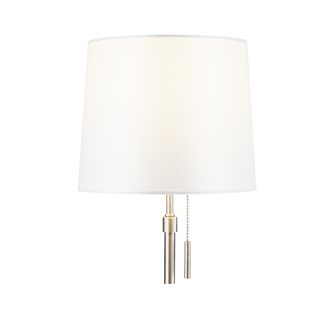 Project Source Table Lamps - Metal and Linen - 20-in - Brushed Nickel and White - Set of 2