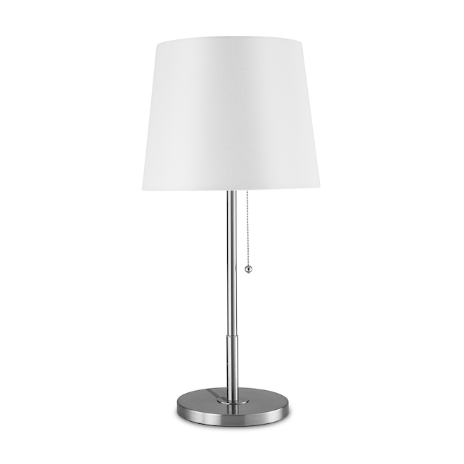 Project Source Floor Lamp and Table Lamps - 58-in/22-in - Metal/Linen - Brushed Nickel/White - Set of 3
